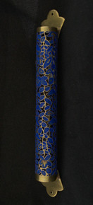 Mezuzah blue metal cut out