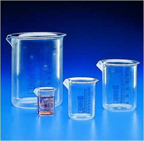 Beakers, blue graduated, low form, PMP (TPX)