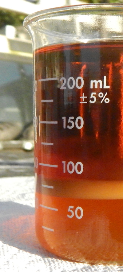 Example Image of GLycerin being seperated in a glass