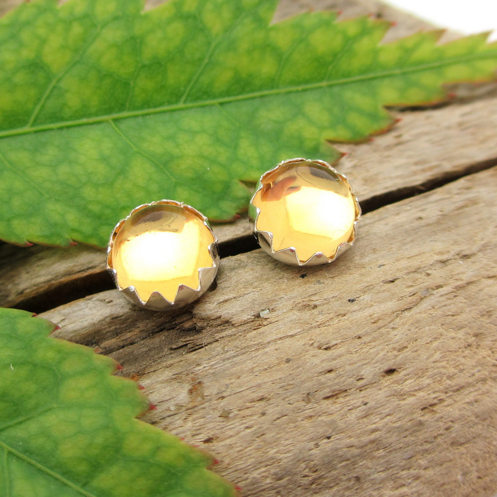 Citrine Cabochon Stud Earrings | Soft Yellow