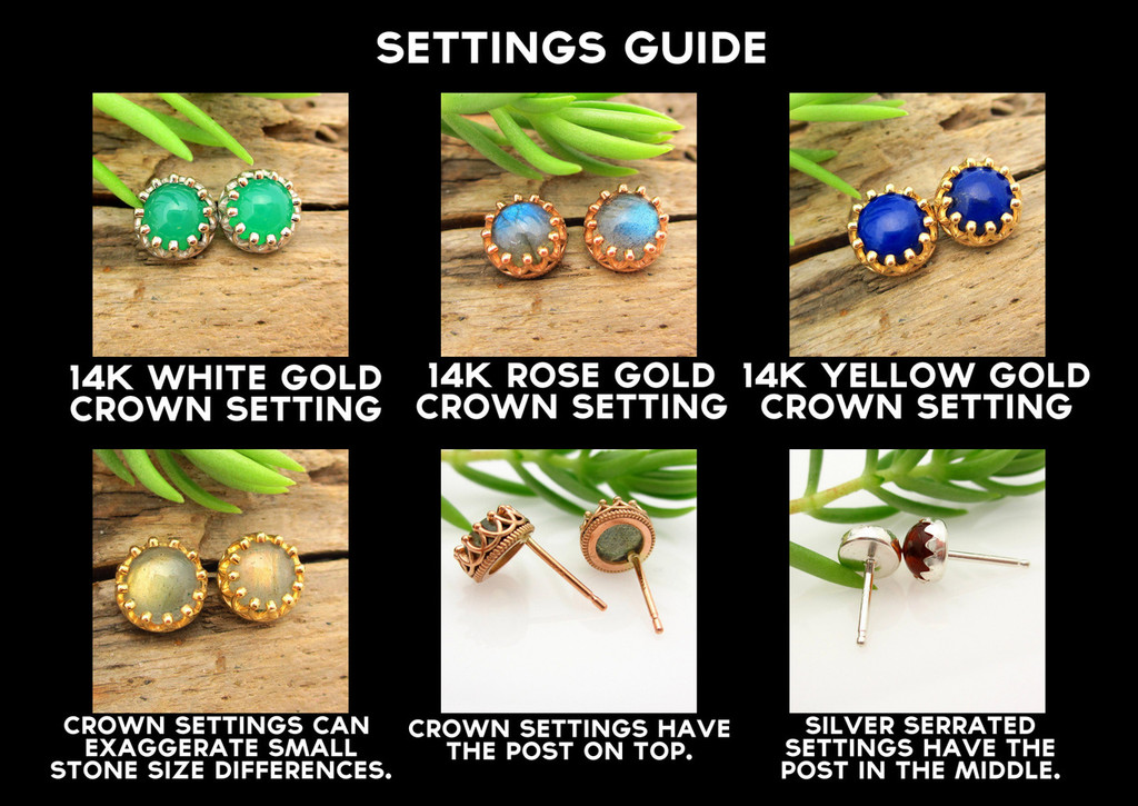 Cabochon stud earring settings