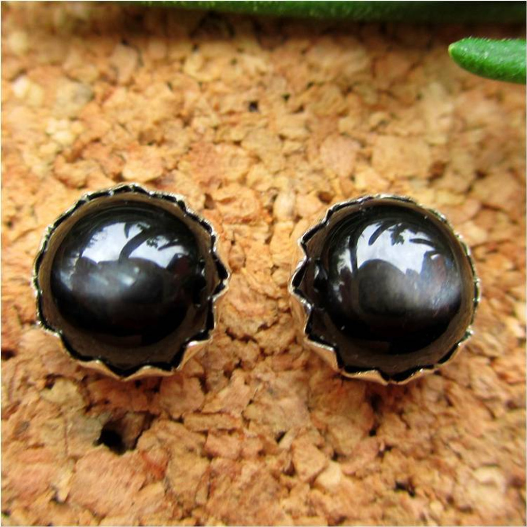 Black Star Diopside Cabochon Stud Earrings
