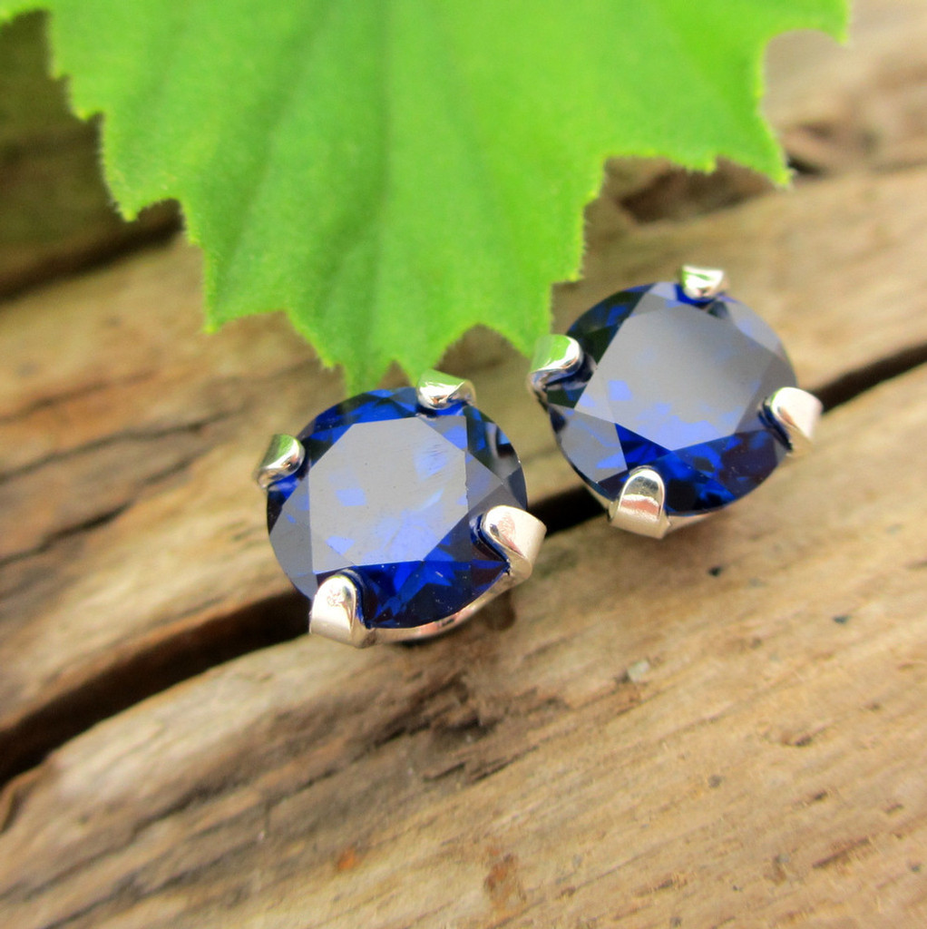 Blue Sapphire Stud Earrings | Lab Grown