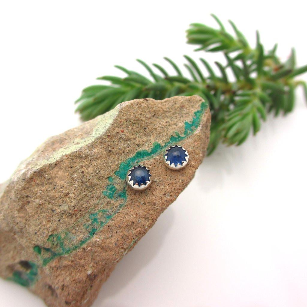 Blue Sapphire Cabochon Earrings