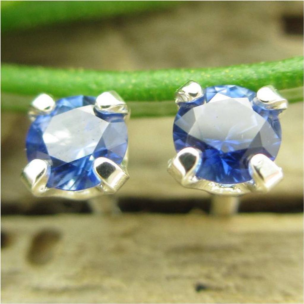 Blue Sapphire Stud Earrings | Natural