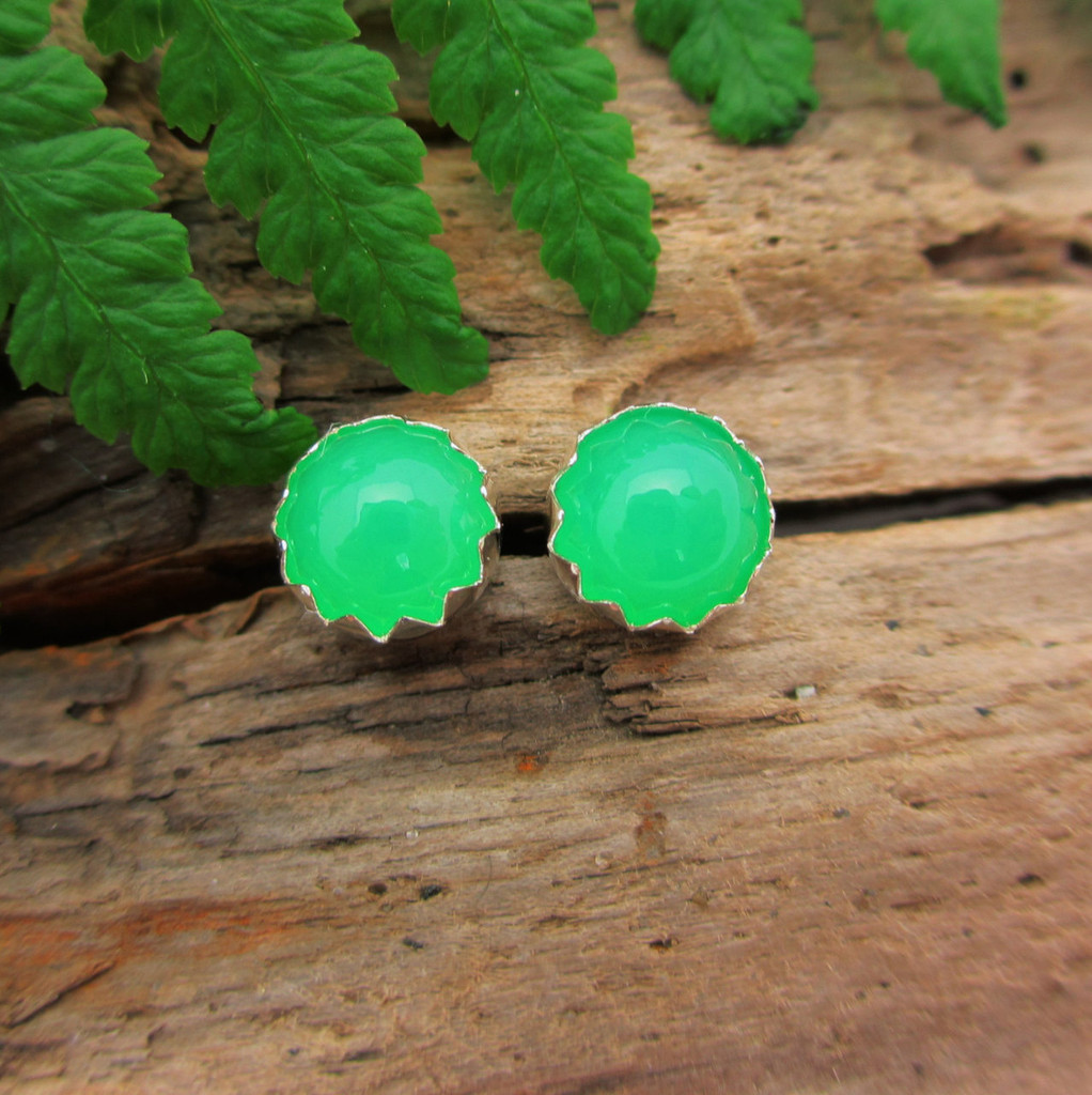 Chrysoprase Stud Earrings, Gem Grade