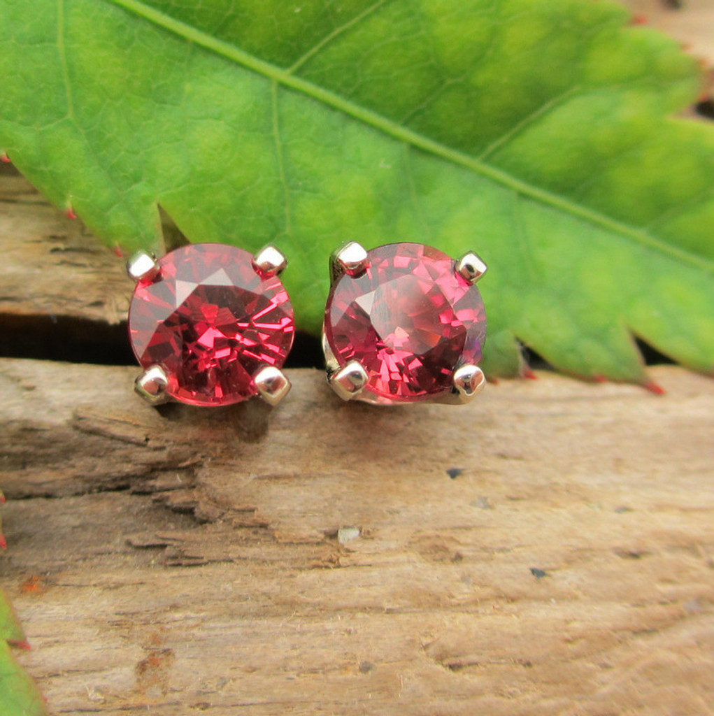 Color Shift Ruby Stud Earrings, Limited Edition