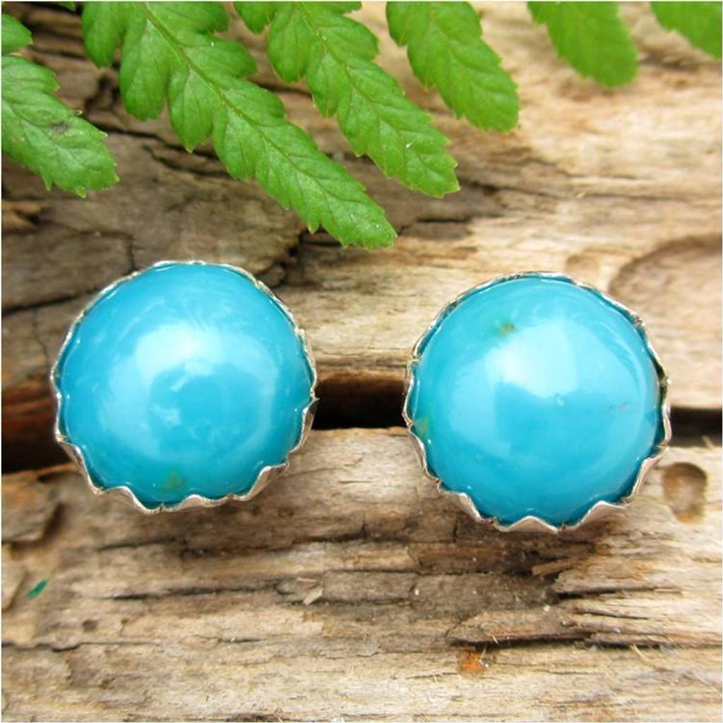 Turquoise Cabochon Stud Earrings | Kingman Arizona