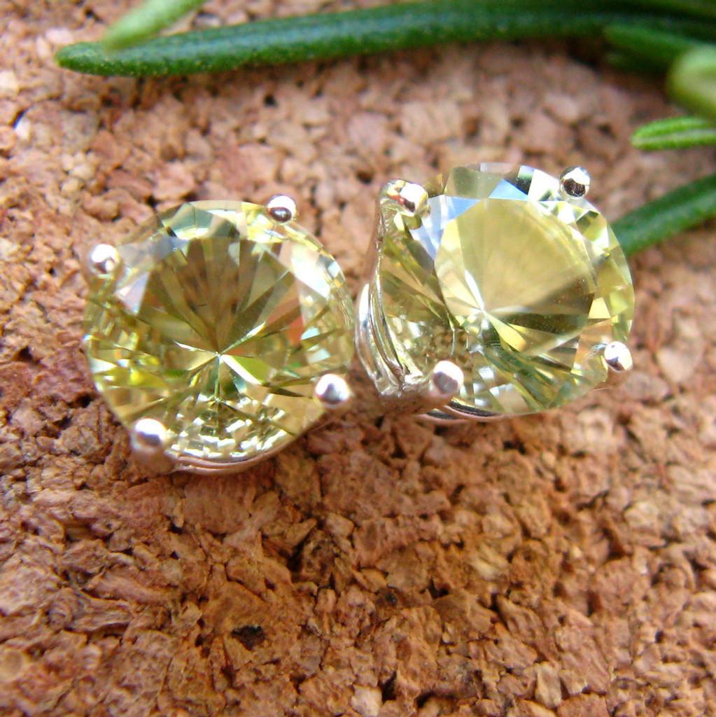 Lemon Quartz Stud Earrings