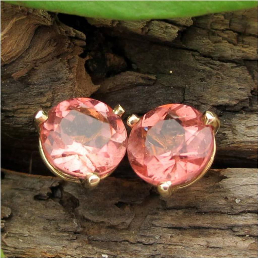 Peach Padparadscha Tourmaline Stud Earrings, Limited Edition
