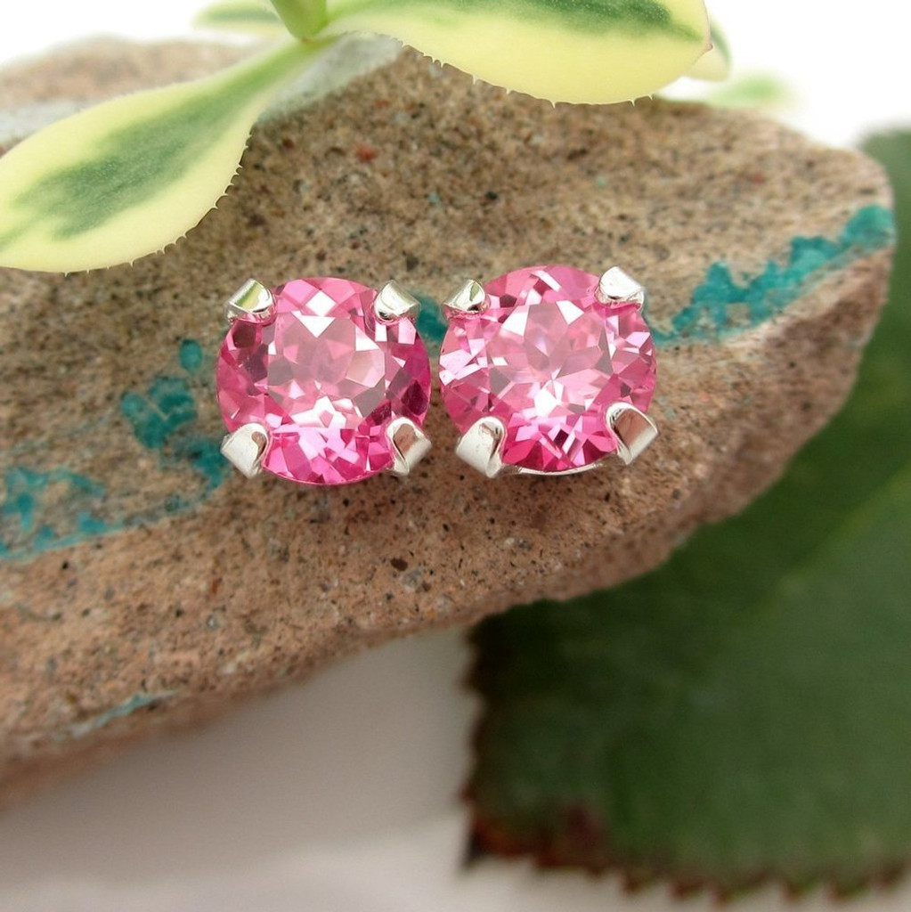 Pink Sapphire Stud Earrings | Lab Grown