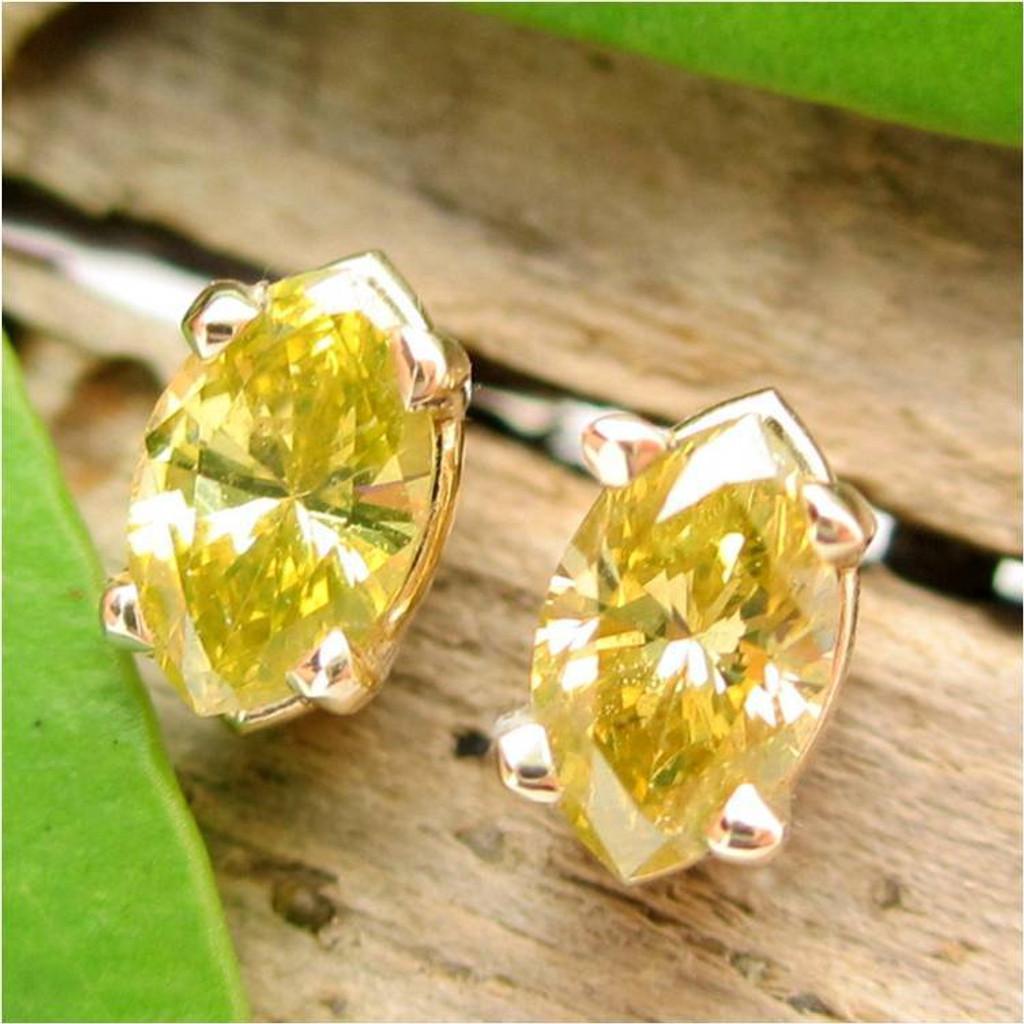 Yellow Diamond Stud Earrings, Medium 5x2.7mm, Limited Edition