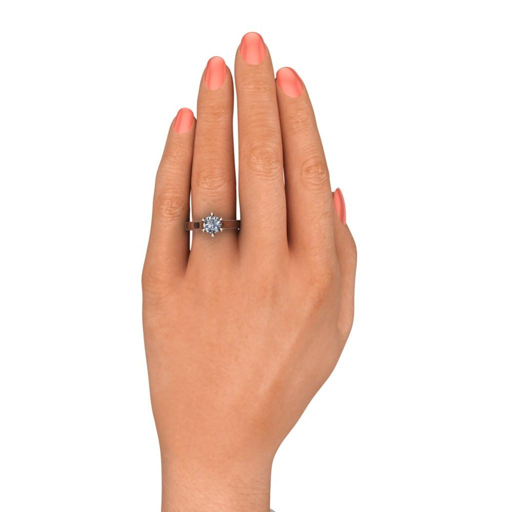 Diamond Engagement Ring | 1 Carat Round | Bold, Modern on white hand