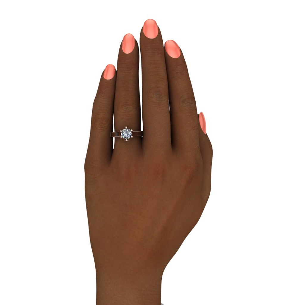 Diamond Engagement Ring | 1 Carat Round | Bold, Modern on black hand