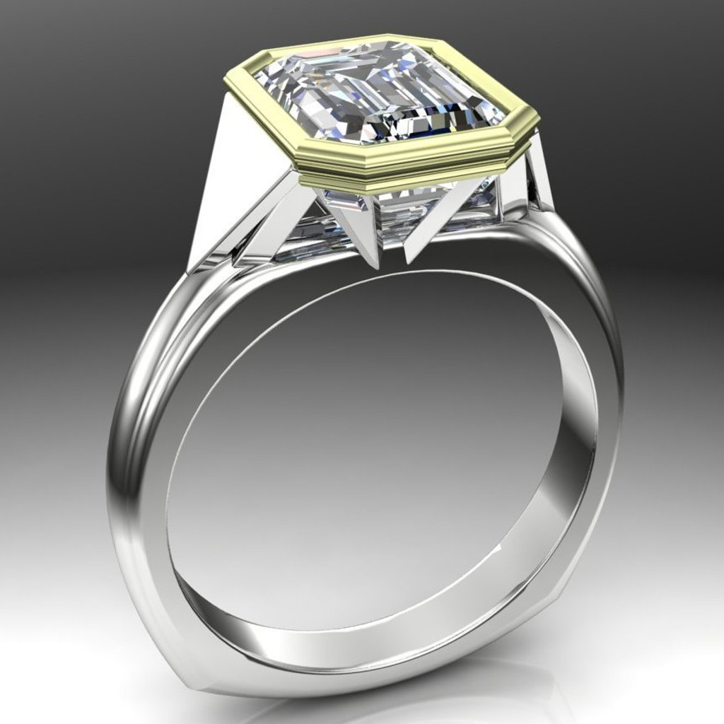 Egyptian Deco Engagement Ring | Emerald Cut 2.5ct Diamond