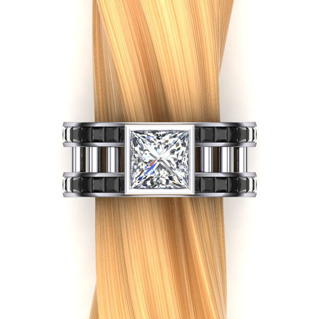 White Collar, Black Tie Men's Engagement Ring   2 Ct Square Diamond