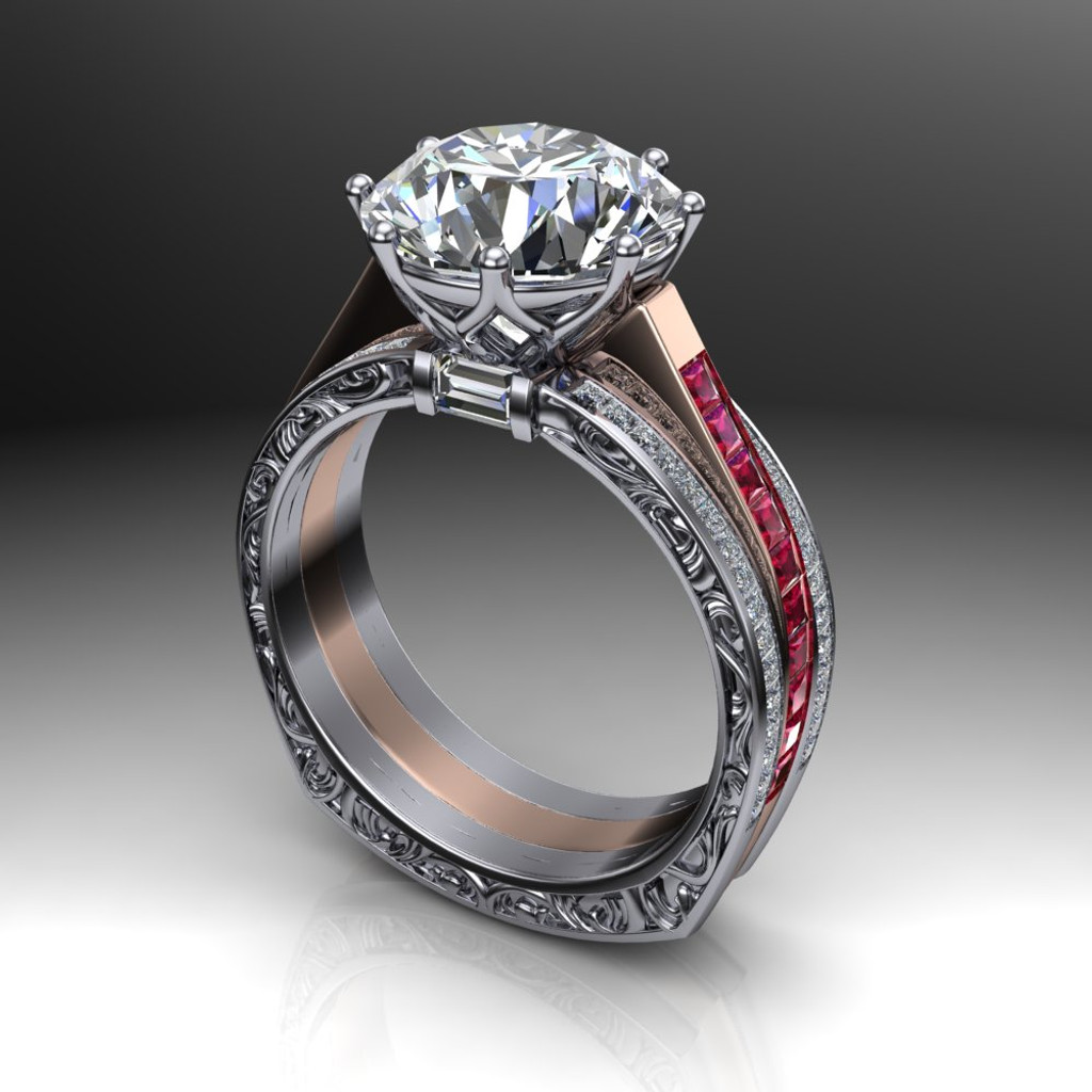 4 carat diamond ring with rubies two tone