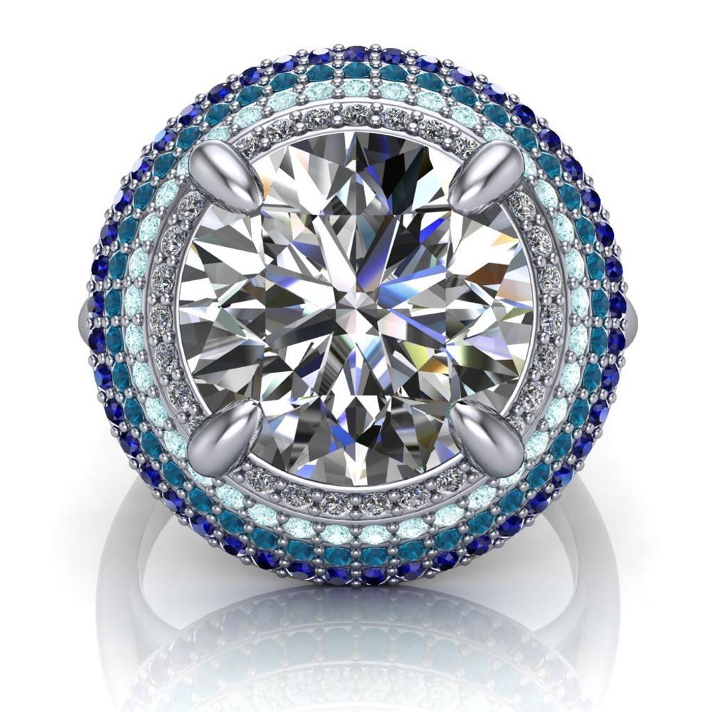 Blue Halo Engagement Ring | Round 4 Carat Diamond