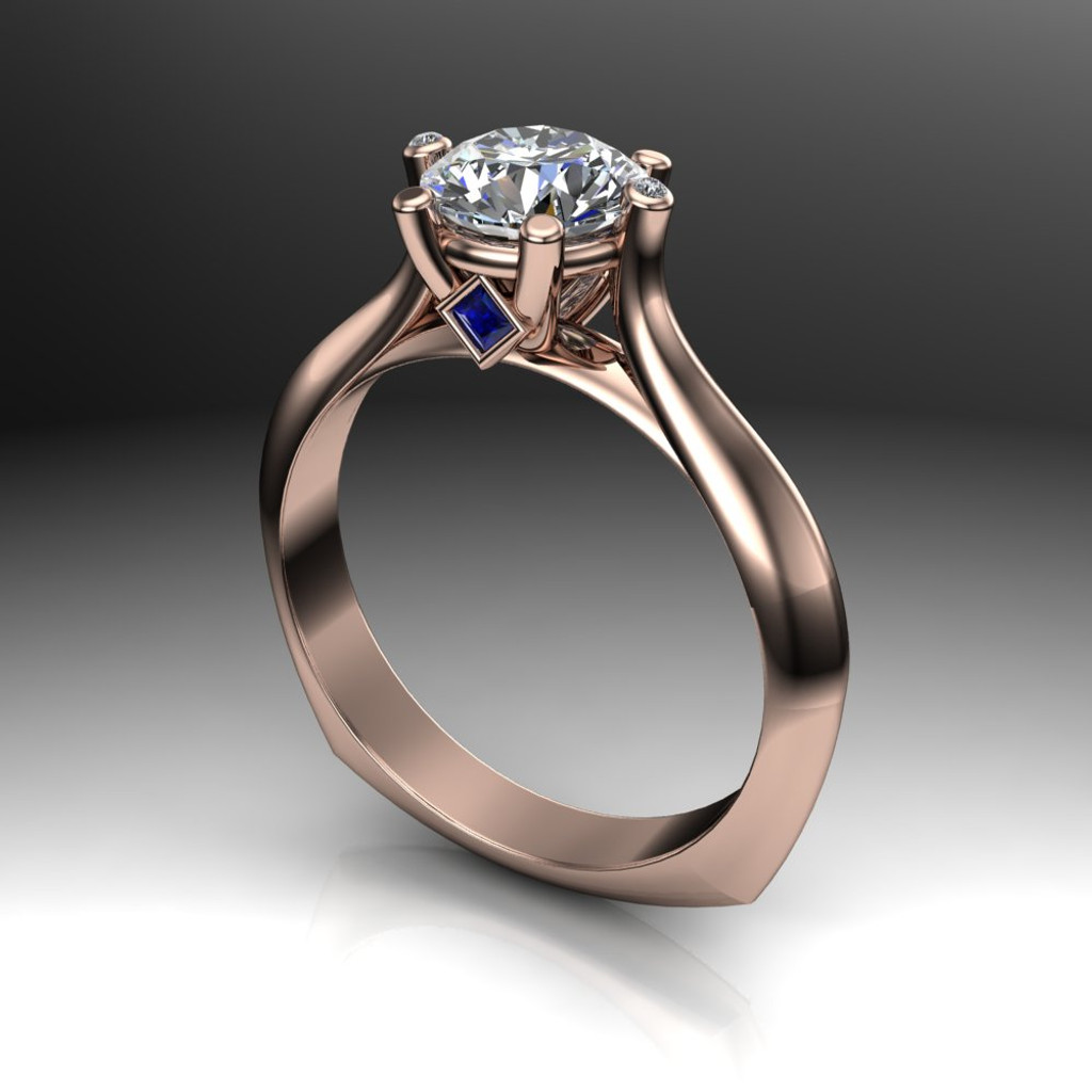 Diamond Engagement Ring, 1 ct Diamond with Blue Sapphires and Diamond Prongs angled view