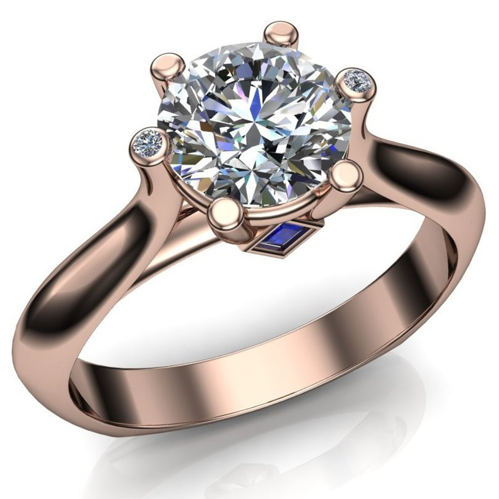 Blue Cathedral Engagement Ring | Round 1 Carat Diamond