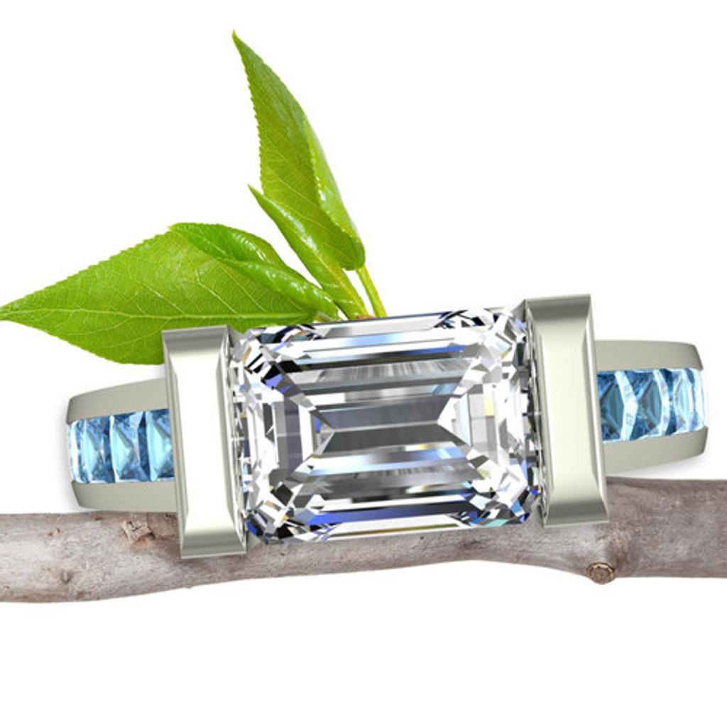 Blue Diamond Engagement Ring   Emerald Cut 1+ ct Diamond