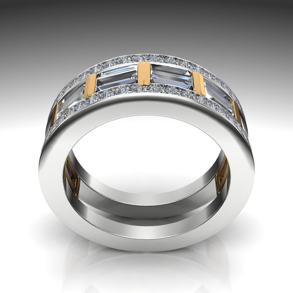 Gay Engagement Ring, Men's Ring with Caged Baguette Diamonds, Two Tone front view