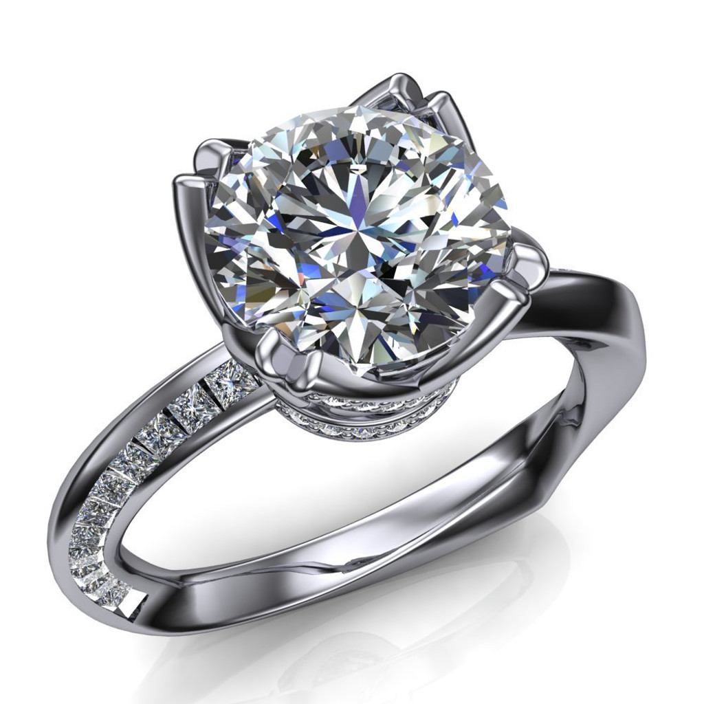 Mobius Twist & Sparkle Engagement Ring   Round 2ct Diamond