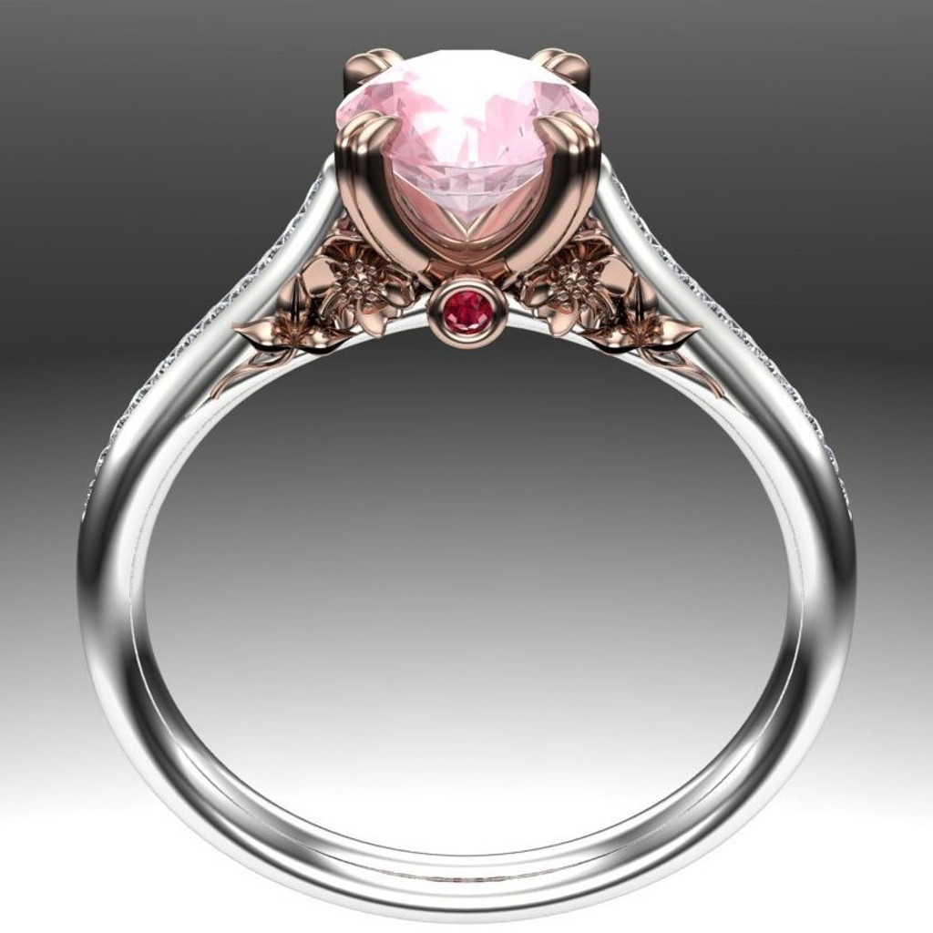 Hibiscus Garden Gemstone Ring | Round 1ct Morganite & Ruby