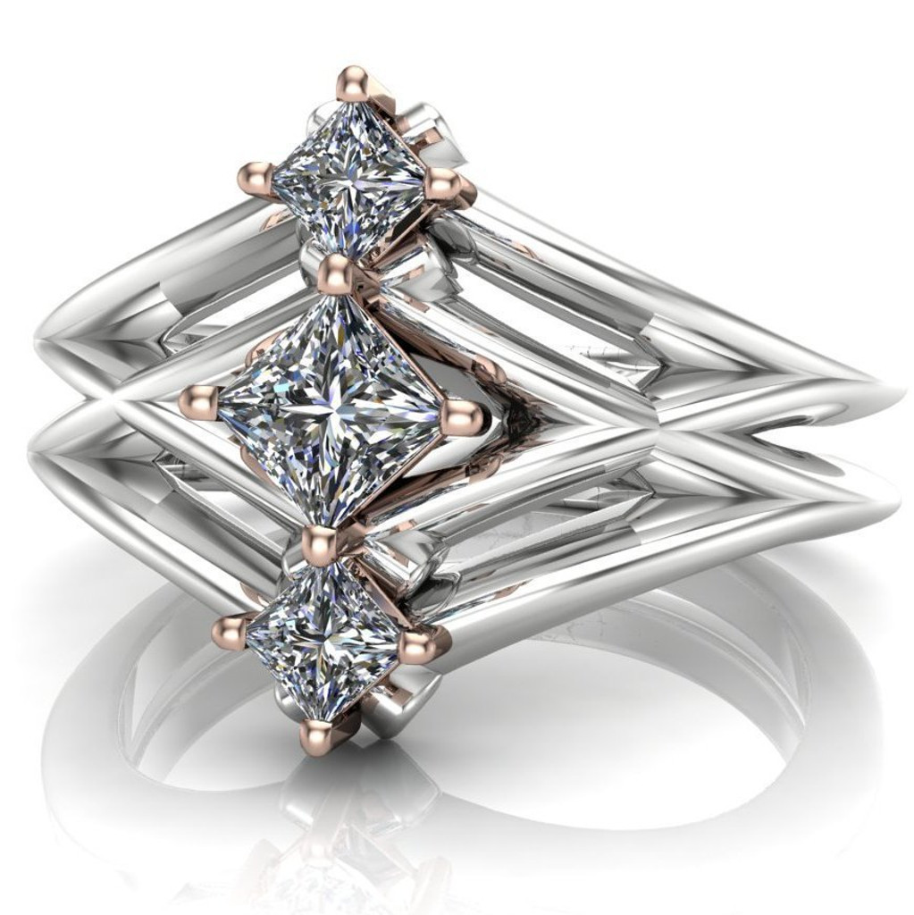 Sci-Fi Three Stone Engagement Ring | Princess Diamonds
