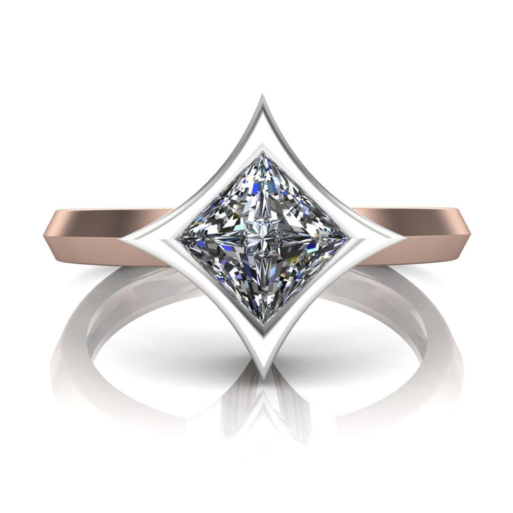 Diamond Engagement Ring | Dramatic Star Bezel Setting center view