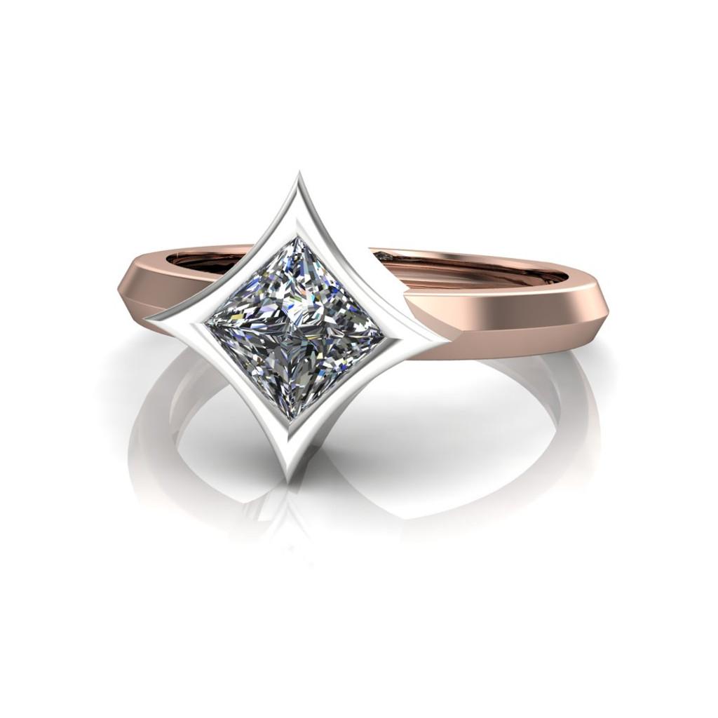 Diamond Engagement Ring | Dramatic Star Bezel Setting head-on view