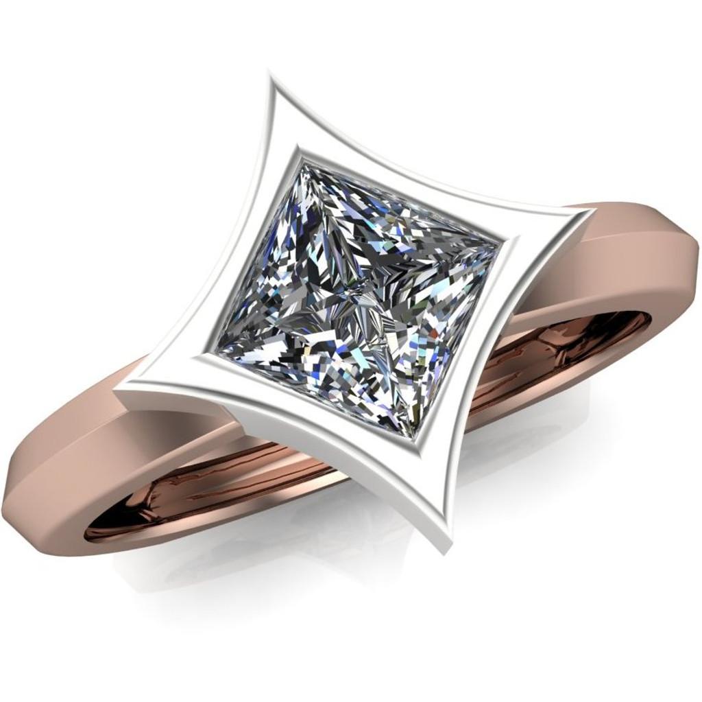 Diamond Engagement Ring | Dramatic Star Bezel Setting overhead view