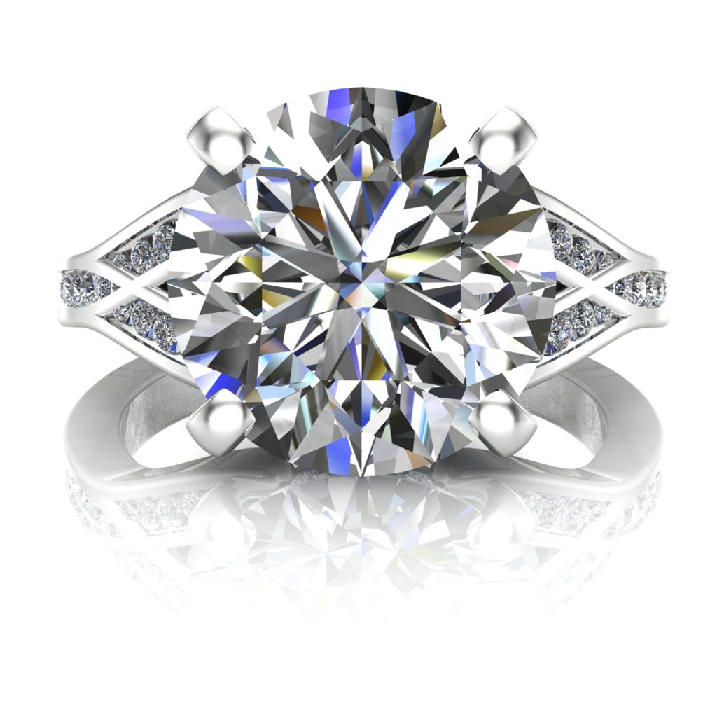 Custom Split Band 4 Carat Diamond Engagement Ring