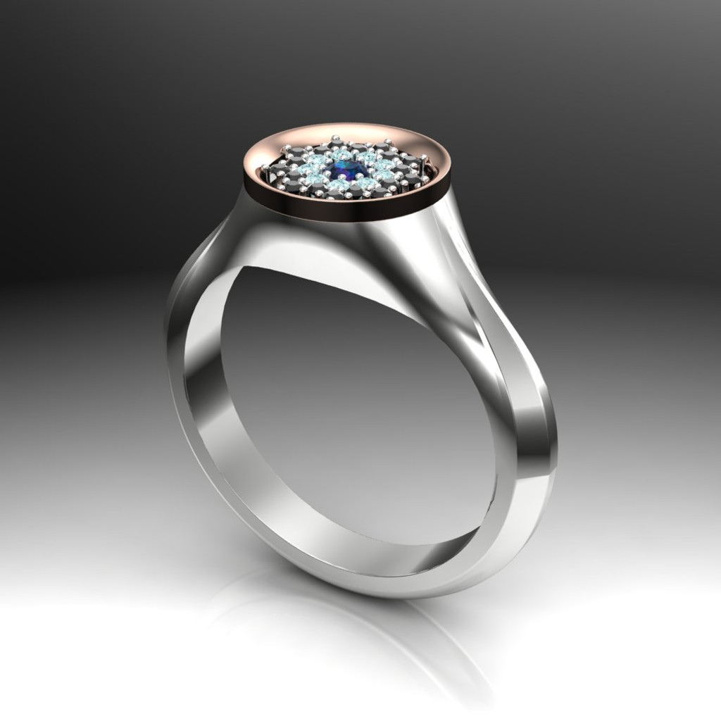 Signet Style Floral Custom Engagement Ring