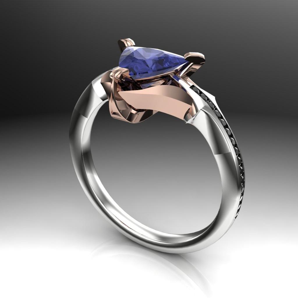 Purple Sapphire Engagement Ring | Viking Trillion