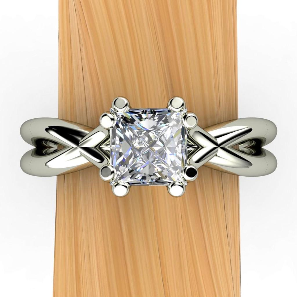 CUSTOM ENGAGEMENT RING for M: X Split Band Engagement Ring   Princess-Cut Color-Change Sapphire