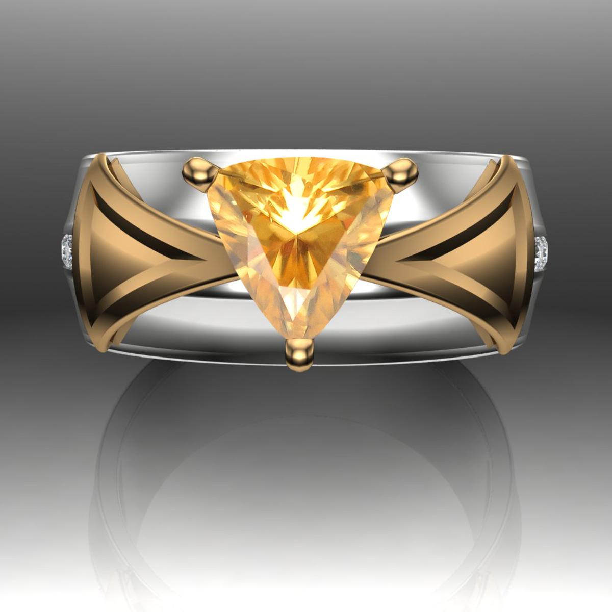Chrysoberyl And Diamond Trillion Engagement Ring White Yellow