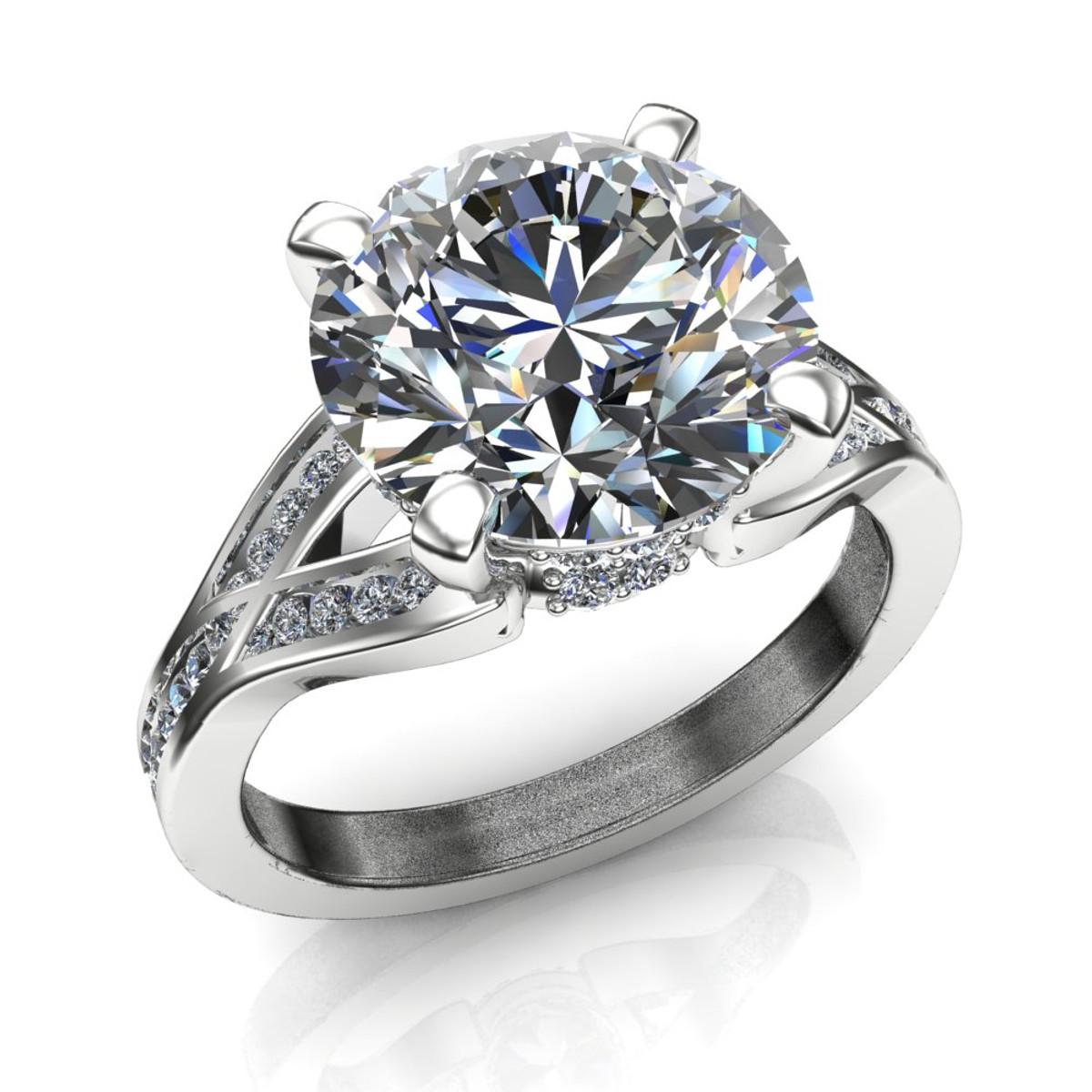 split band 4 carat diamond engagement ring