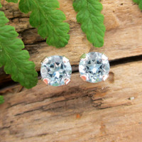Aquamarine gemstone stud earrings