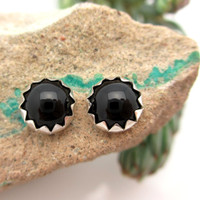 Black onyx cabochon stud earrings