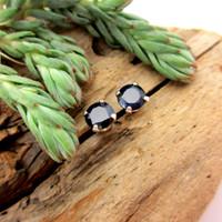 Black sapphire stud earrings