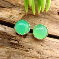 Chrysoprase Cabochon Stud Earrings, B Quality