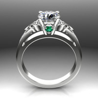 Diamond Celtic Knot Engagement Ring, 1ct with Diamond and Emerald Accents front view