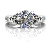 Diamond Celtic Knot Engagement Ring, 1ct with Diamond and Emerald Accents center view