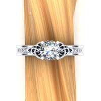 Diamond Celtic Knot Engagement Ring, 1ct with Diamond and Emerald Accents overhead view