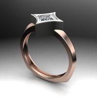 Diamond Engagement Ring | Dramatic Star Bezel Setting angled view