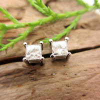 Princess cut diamond stud earrings with screw backs