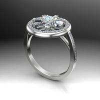 Custom Wheel of Fire Diamond Engagement Ring