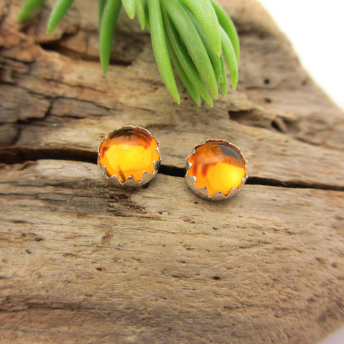 Citrine Cabochon Stud Earrings | Golden Yellow