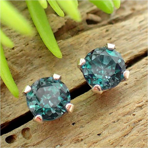 Lab grown real Alexandrite stud earrings